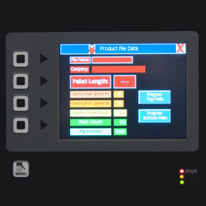 Close up of control panel of Rayco Pallet Pro showing various touch enabled buttons