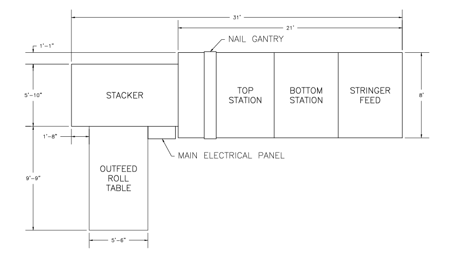 CAD Drawing showing the footprint and layout of the Rayco Pallet Pro